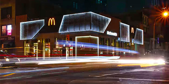 Exterior of McDonald's Restaurant at Night
